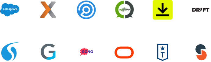 Icons for apps like Salesforce and Hubspot connecting to Slack