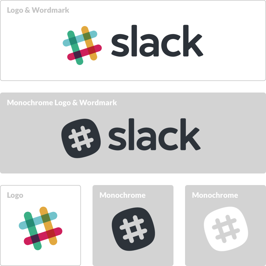 Brand Guidelines Slack - Altered famous logos appear as if theyre effected by the products they sell