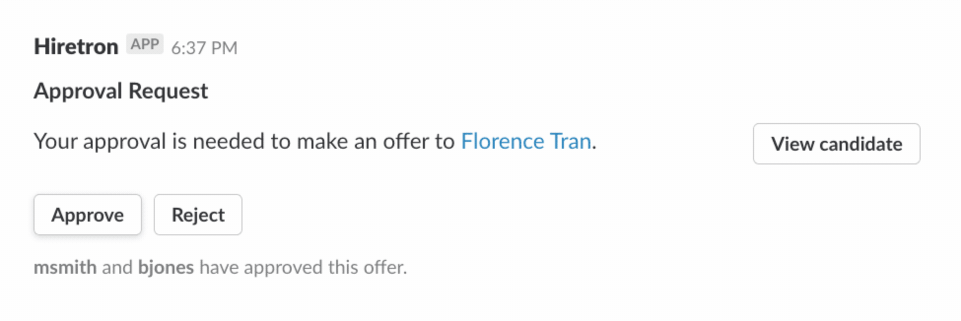 A button in a Slack message being clicked, triggering an external service to take action