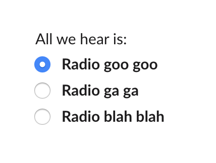 A group of radio buttons showing a single option selected