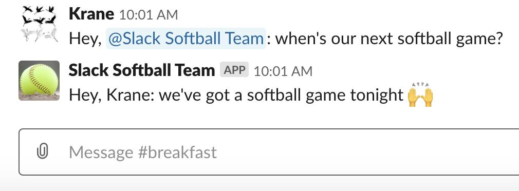 Slack Softball Team app call and response
