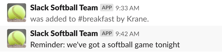 Slack Softball Team app message