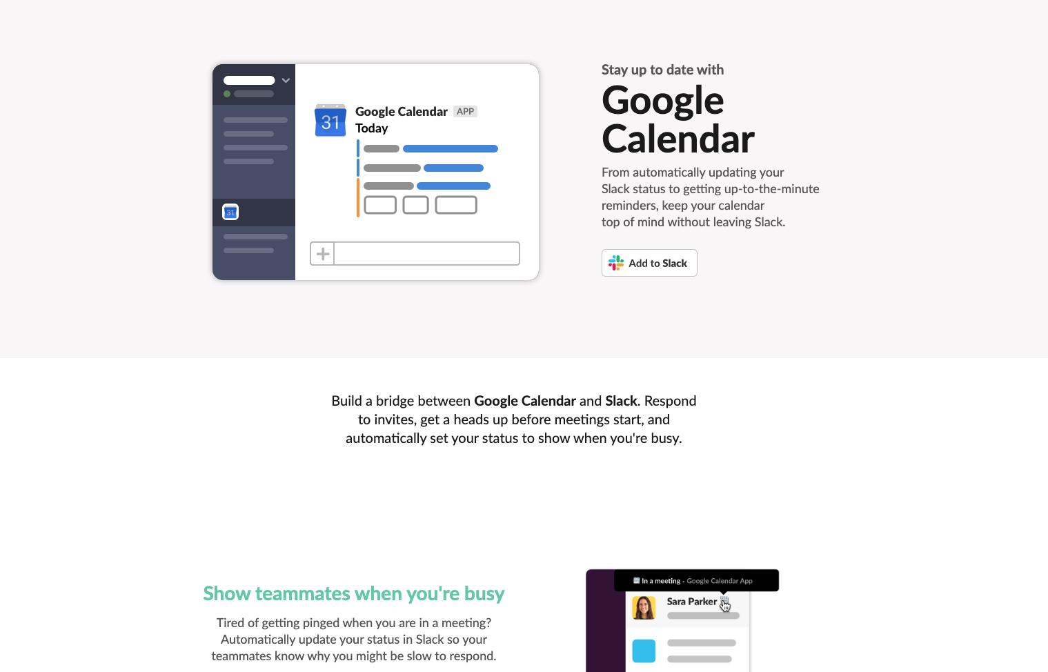 Google calendar landing page