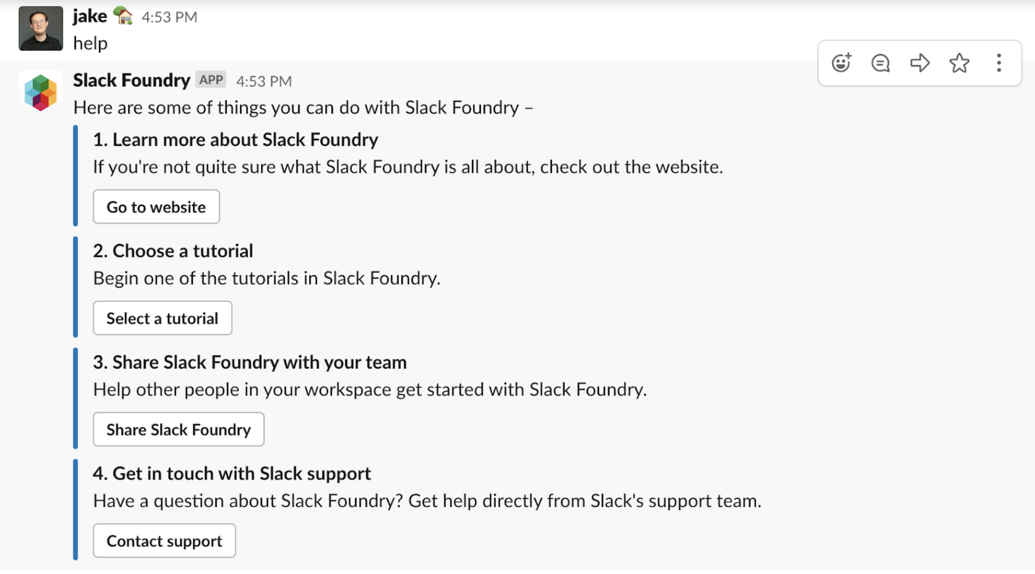 Example help message from an app in Slack client