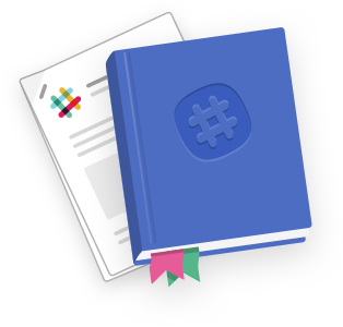 An illustration of a guidebook and a paper manual, both bearing the Slack logo.