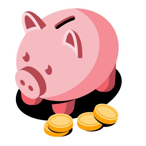 쌓인 동전은 금융 서비스 기관을 나타냅니다.