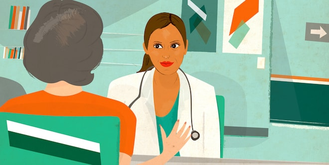 An illustration of a patient speaking to her doctor.