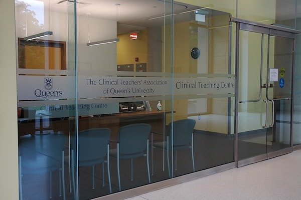 A photograph of the outside of a conference room labelled Clinical Teaching Center.