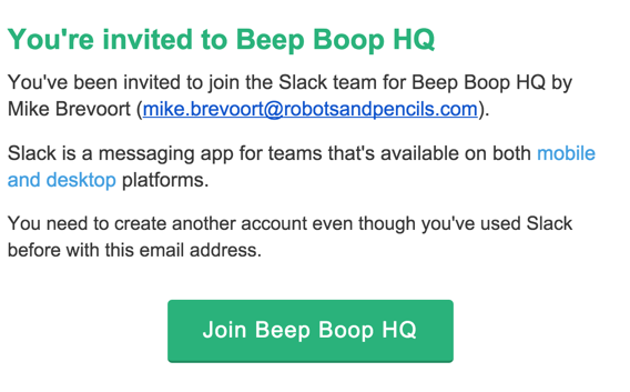An invitation to Beep Boop