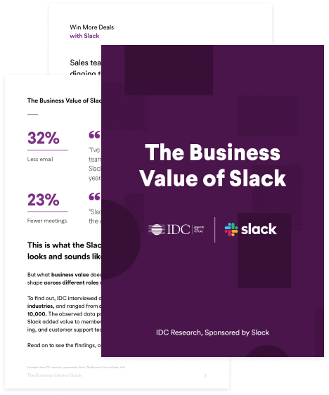 Preview thumbnail of the IDC: Business Value of Slack book