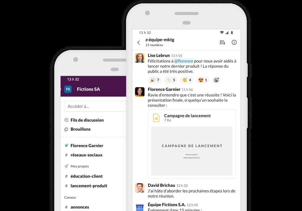 Capture d'écran de l'application Slack