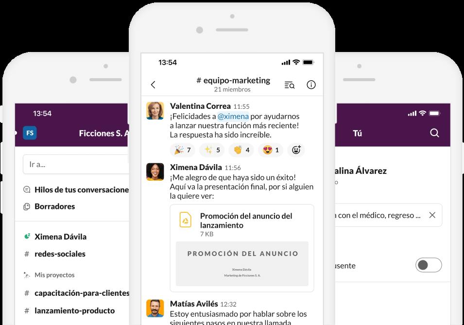 Captura de pantalla de la aplicación de Slack