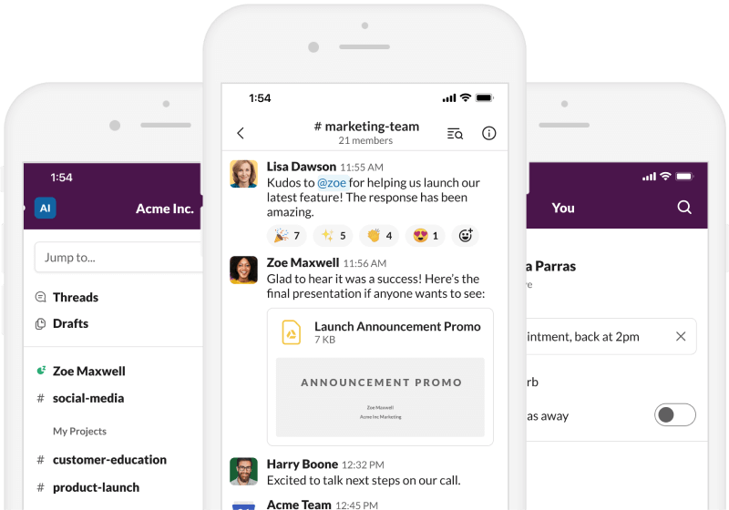 Screenshot of the Slack app