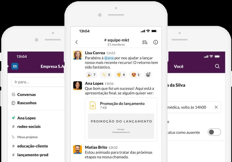 Captura de tela do app Slack