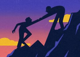 An illustration of someone helping someone else up a mountain