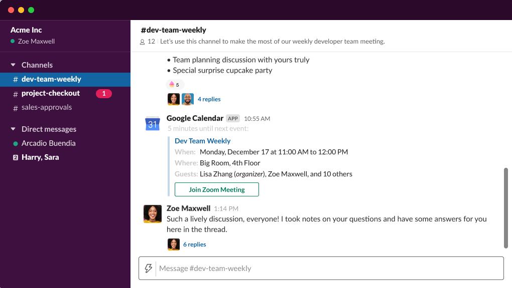 Demonstração interativa do Slack