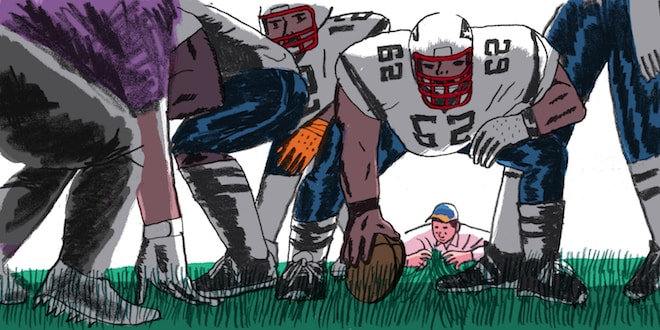 An illustration where a man checks the grass lawn carefully behind football players