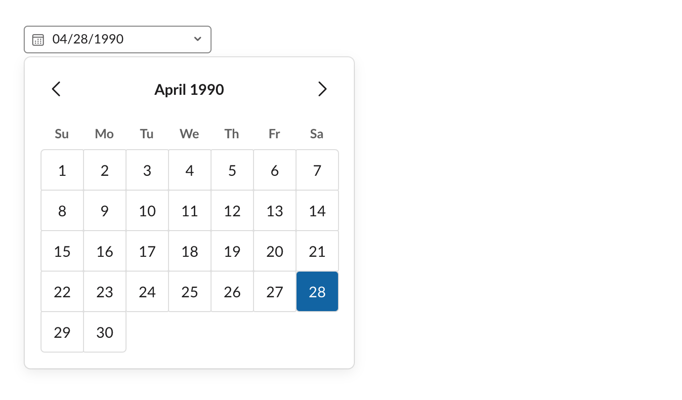 An example of a datepicker element
