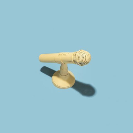Brightly colored microphone on a stand