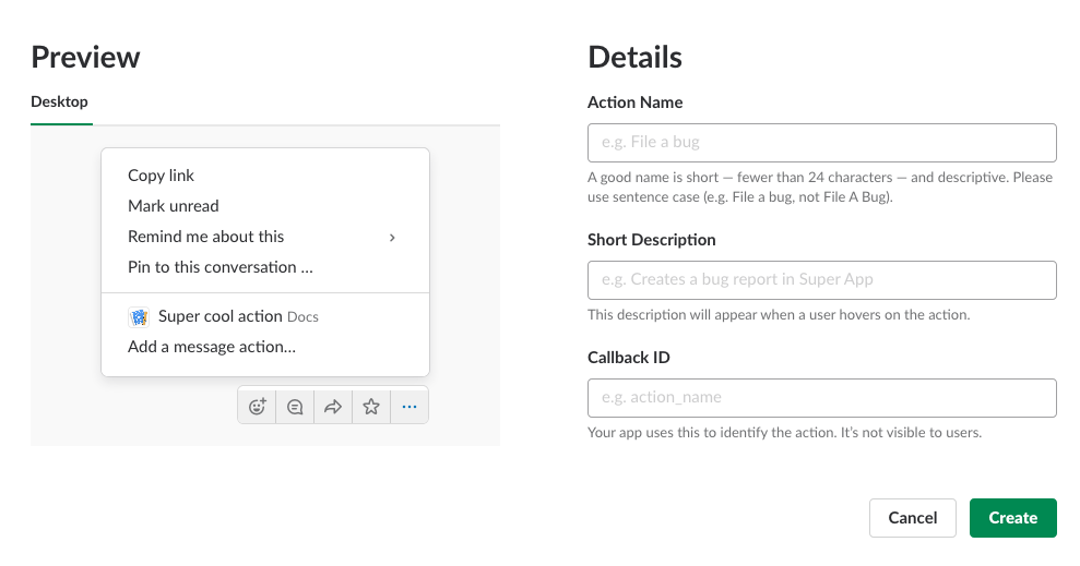 Create new Action Dialog