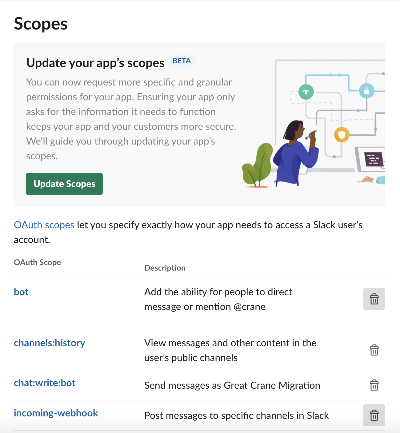Link to new scope update tool found in app management page