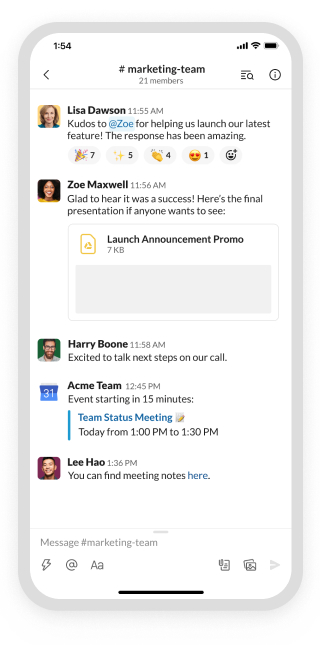 Slack the product user interface on mobile