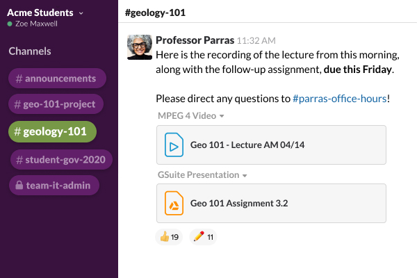 A Slack channel with a user posting a recording of a lecture and follow-up assignment