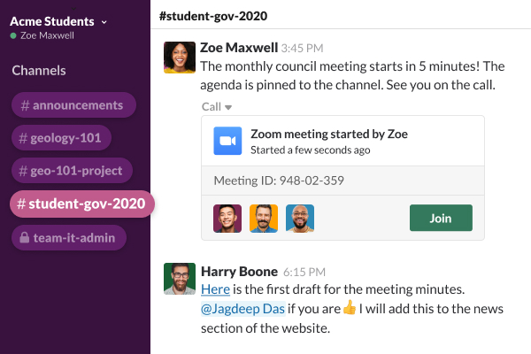 A Slack channel showing a user posting a link to a video meeting for student government