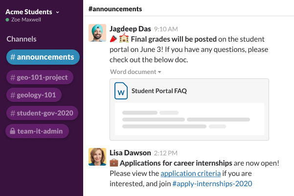 A Slack channel with a user sharing the Student Portal FAQ, and comments about grades being posted