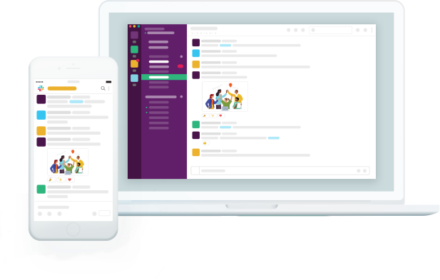 Slack app displayed on a laptop computer and smartphone