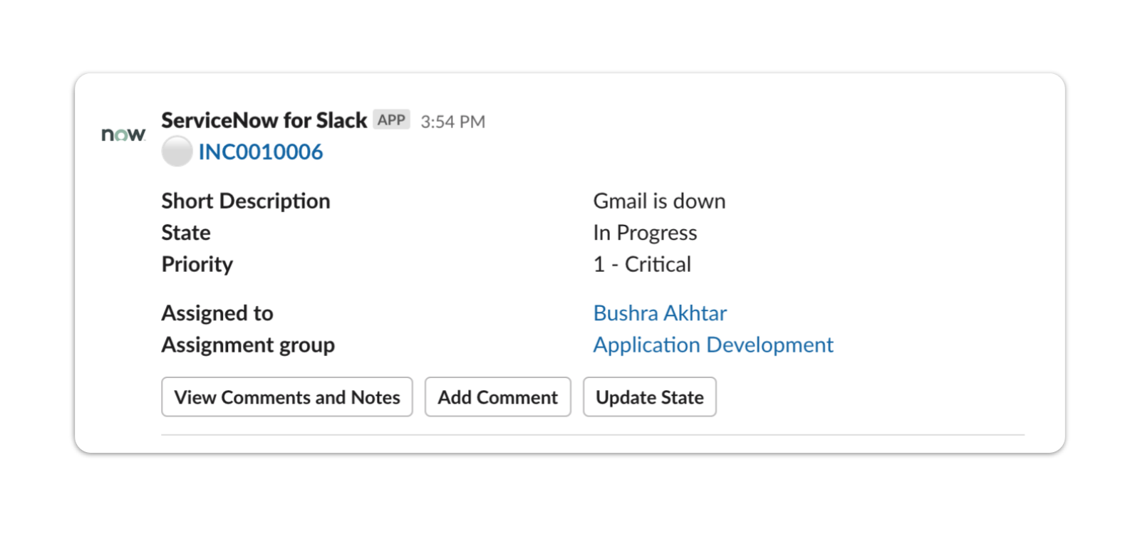 ServiceNow for Slack example