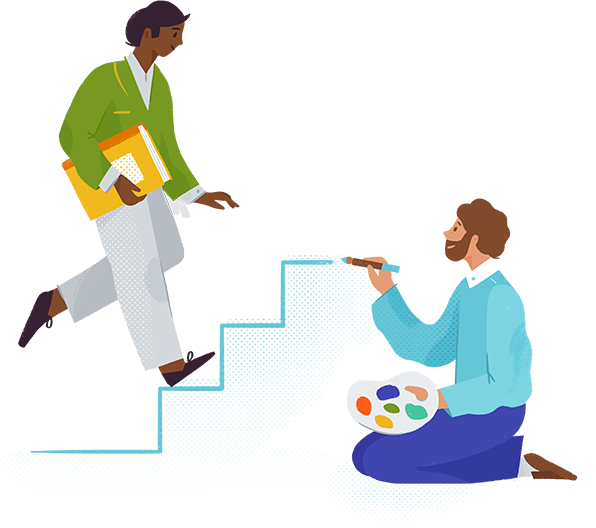 Abstract illustration of an artist and a knowledge worker