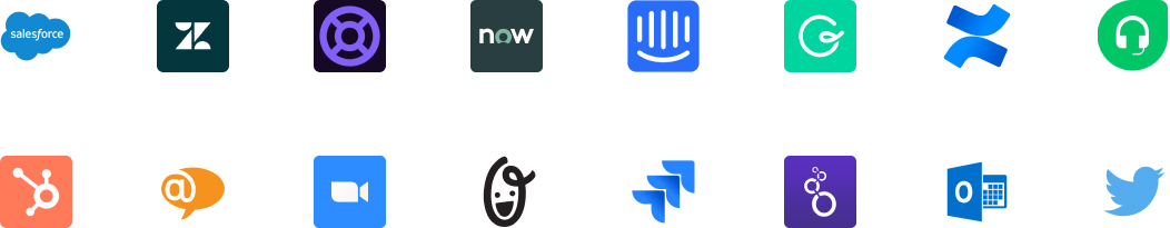 Una pared de logotipos que muestra las integraciones de asistencia al cliente de Slack
