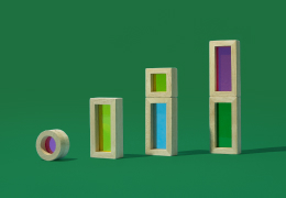 Building blocks on a green background