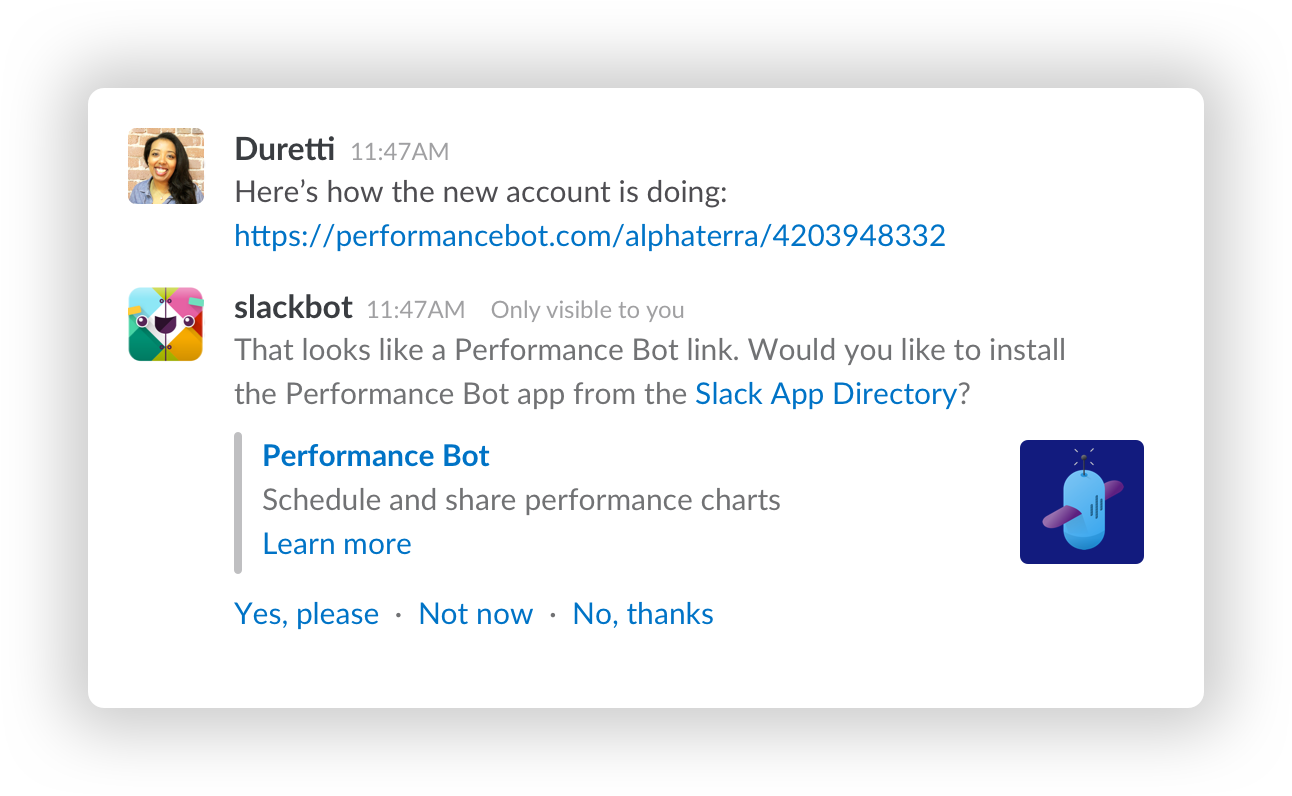 An example app suggestion for a bot called Performance bot.