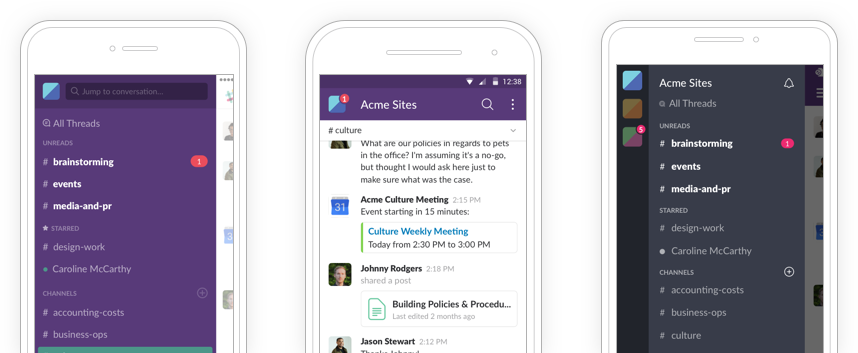 Slack for mobile is available on iPhone, Android and Windows Phone