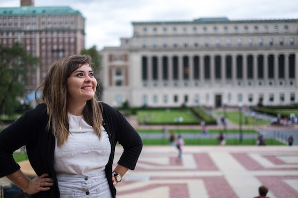 Padilla-Rodríguez stands proudly on the campus of Columbia University.