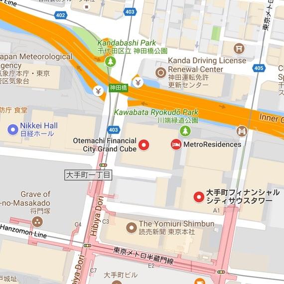 Mapa de la oficina de Tokio
