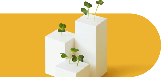 Clovers growing from an abstract bar chart