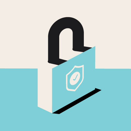 Illustrated graphic of a bright, dimensional basic lock, featuring a shield on its body.