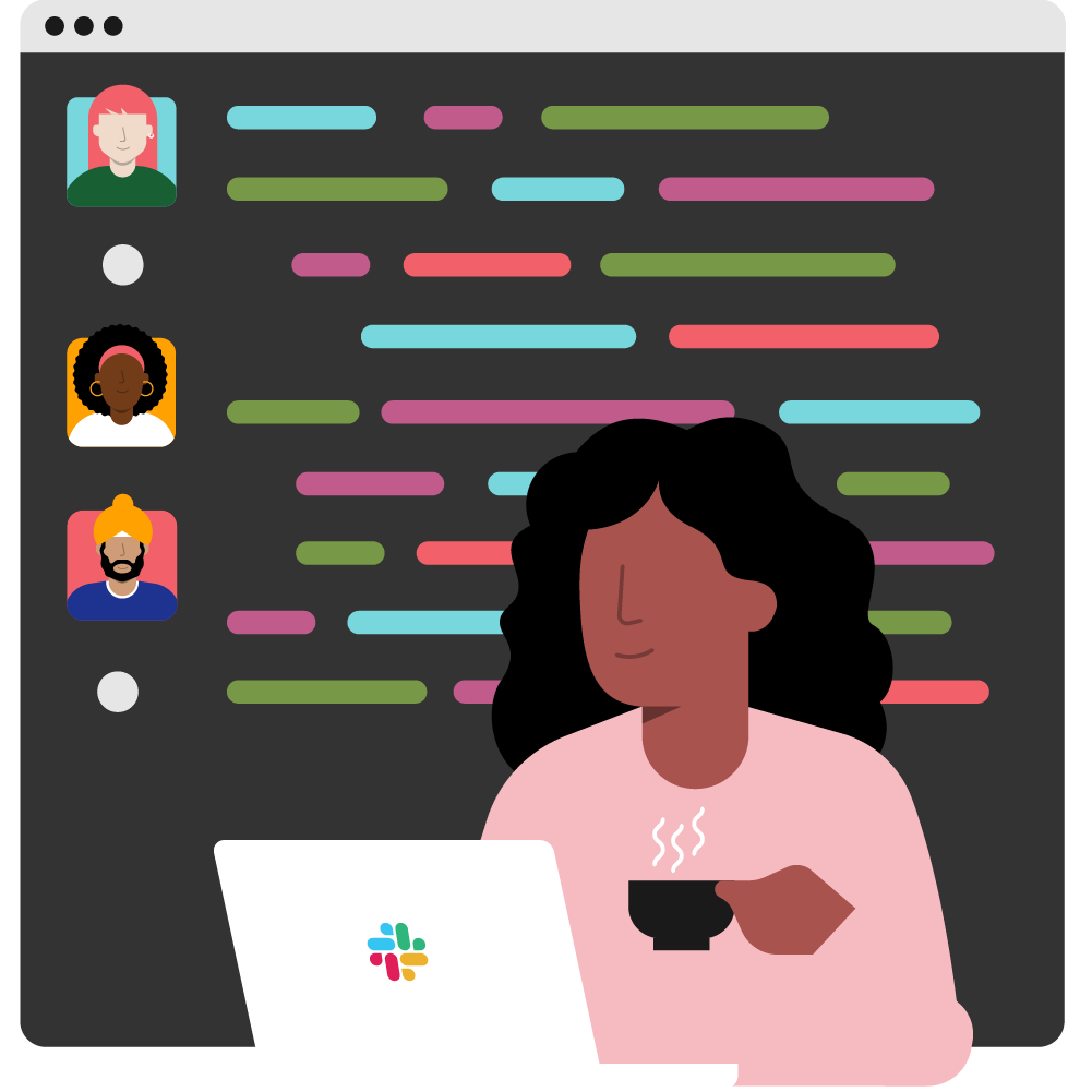 An illustration of a person sipping a hot beverage while scrolling through a Slack channel on a laptop