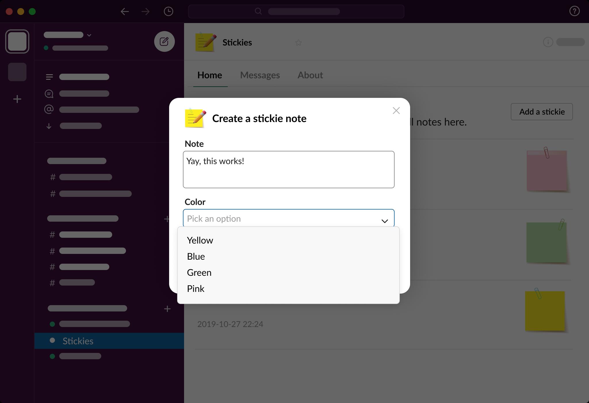 App home on Slack