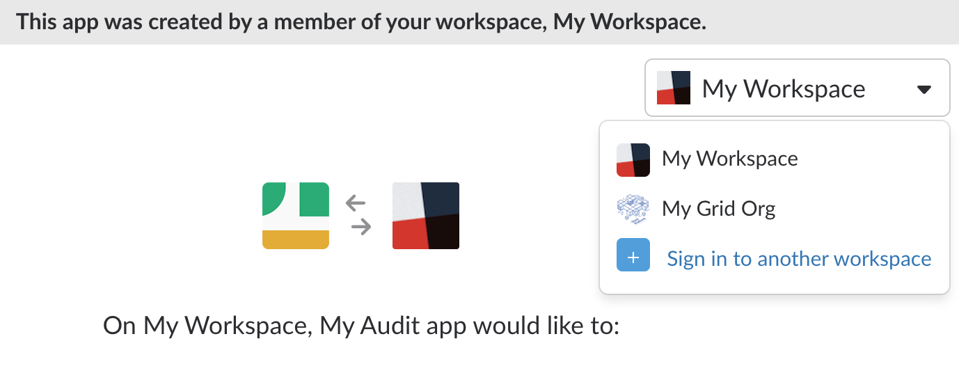 Installing the app on a workspace