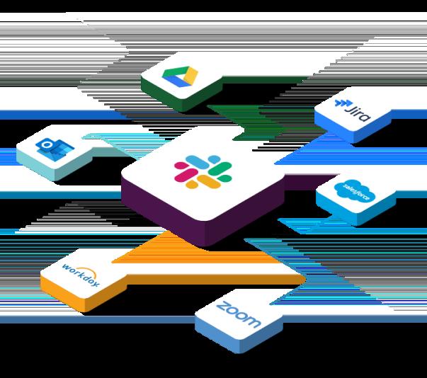 Íconos de apps como Salesforce y Google Drive conectándose a Slack