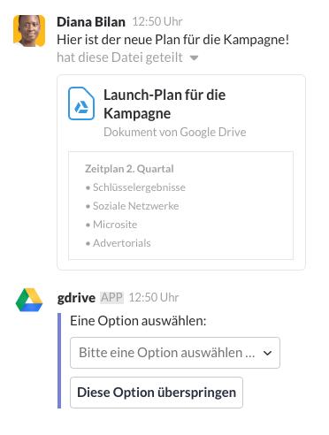 Eine Datei wird mit der App von Google Drive in Slack geteilt