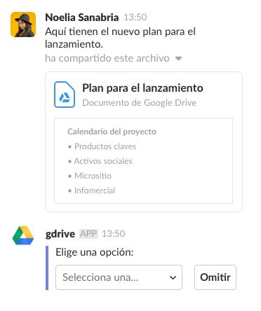 Una persona compartiendo un archivo con la aplicación de Google Drive en Slack