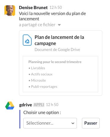 Un utilisateur partageant un fichier avec l'application Google Drive dans Slack