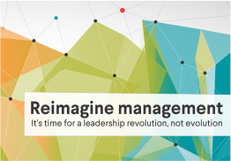 "Abstract graph with text ""Reimagine management"""