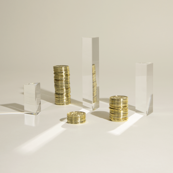 Piled up coins represent financial services institutions