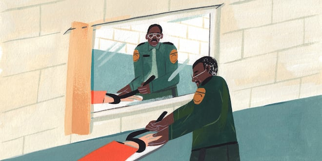 An illustration of a prison guard looking at his reflection while adjusting a table strap across a prisoner's wrist.
